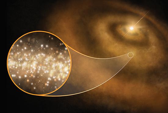 Visione artistica dei nanodiamanti che rivolvono attorno a una giovane stella. Sono proprio loro a emettere quegli anomali e misteriosi segnai nella lunghezza d'onda delle microonde. Fonte: S. Dagnello, NRAO/AUI/NSF