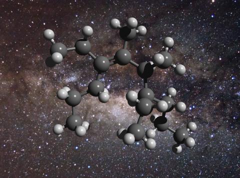 """La struttura di una molecola di carbonio """"grasso"""", dove le sfere grigie sono gli atomi di carbonio e quelle bianchi gli atomi di idrogeno.. Fonte: D. Young. The Galactic Center. Flickr – CreativeCommonsUn"""