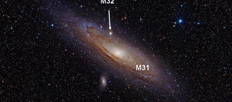 Ciò che resta della M32 rispetto alla M31.