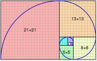 rettangolo fibonacci con spirale