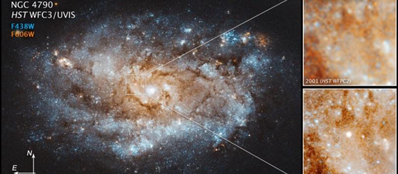 A differenza della maggior parte delle supernove che diminuiscono più o meno rapidamente la loro luminosità, la SN 2012au continua a brillare senza segni di cedimento. Che ci sia lo zampino della pulsar nascosta al suo interno?  Fonte: NASA, ESA, and J. DePasquale [STScI])