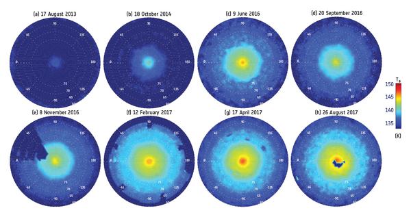 Mappa stratosferica del vortice esagonale stratosferico del polo nord di Saturno. Il castello visto dall'alto... Fonte: NASA/JPL-Caltech/University of Leicester/GSFC/L.N. Fletcher et al. 2018