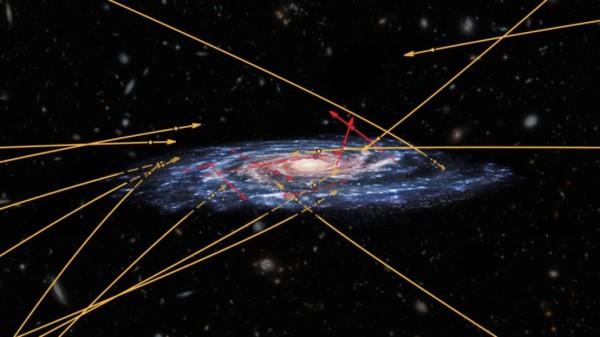 Fonte:ESA (visione artistica); Marchetti et al. 2018 (proiezioni e traiettorie); NASA / ESA / Hubble (galassie di sfondo); CC BY-SA 3.0 IGO