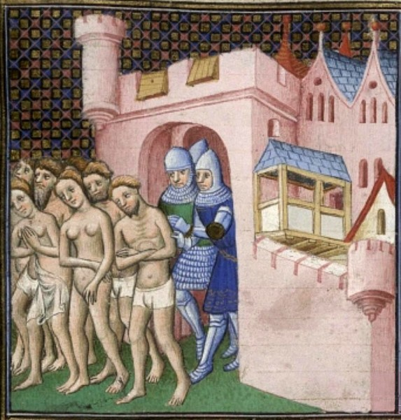 Carcassonne, cacciata catari. Bottega di Maestro di Boucicaut - Grandes Chroniques de France, BL Cotton MS Nero E II