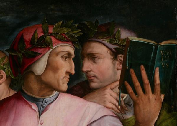 Dante e Guido Cavalcanti, sempre in lotta ma legati da un filo indissolubile. Giorgio Vasari, Sei poeti toscani, pittura a olio, 1544
