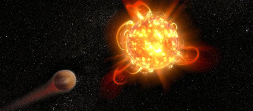 Una nana rossa durante il suo lavoro di pulizia preliminare. E, intanto, l'atmosfera del pianeta se ne va... Fonte: NASA, ESA and D. Player (STScI)
