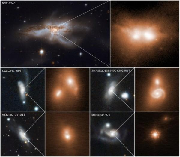 Alcuni esempi di coppie di buchi neri galattici prossimi alla fusione. L'immagine in alto a sinistra è stata ripresa da Hubble e mostra l'unione di due galassie (NGC 6240). Un caso in cui i due buchi neri sono molto evidenti anche solo zoomando. Gli altri quattro casi mostrano le immagini infrarosse del Keck (sulla destra) e quelle delle galassie in collisione prese da Pan-STARRS (a sinistra). Gli esempi della figura si riferiscono a buchi neri che dovrebbero essere adistanze dell'ordine di 3000 anni luce, un niente, tale da far prevedere la fusione entro 10 milioni di anni. Le galassie scelte si trovano nella zona che dista da noi intorni ai 300 milioni di anni luce. Fonte: NASA, ESA, e M. Koss (Eureka Scientific, Inc.); immagini Keck : W. M. Keck Observatory e M. Koss (Eureka Scientific, Inc.); immagini Pan-STARRS : Panoramic Survey Telescope and Rapid Response System e M. Koss (Eureka Scientific, Inc.)