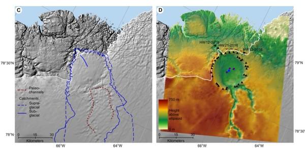 A sinistra una mappa aerea, dove si nota appena una possible struttura circolare. A destra una mappa radar dove si evidenzia perfettamente lìil cratere. Kurt H. Kjær et al., Science Advances, 4, 11, 2018