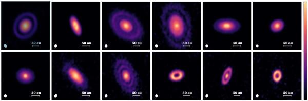 Una splenddida serie di dischi, segnati da anelli chiari e scuri, nella zona di formazzione di Orione. Fontee.