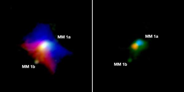 A destra l'immgine di ALMA relativa al gas (la parte rossa si allontana e quella bblu si avvicina, per effetto Doppler); a destra la polvere. Se guardiamo attentamente non sembra di riuscire a riconoscere veramente Granello? Beh, per essere sicuri aspettiamo il 2019. Fonte: ALMA (ESO/NAOJ/NRAO); JD Ilee, University of Leeds
