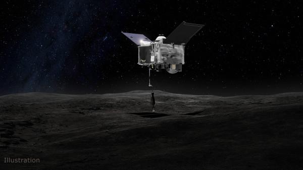 Una rappresentazione virtuale ddel momento più importante deella missione: la raccolta di materiale da riporatree a Terra. Fonte: NASA's Goddard Space Flight Center