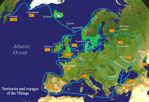 I territori e i viaggi dei Vichinghi. Fonte: Wikipedia.