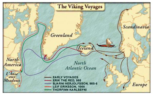 I principali viaggi dei Vichinghi prima del gran freddo del 1400, ricostruiti attraverso i ritrovamenti archeologici.