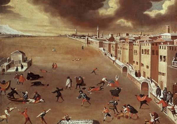 La laguna di Venezia ricoperta dal ghiaccio nel gennaio del 1709, raffigurata da Gabriele Bella