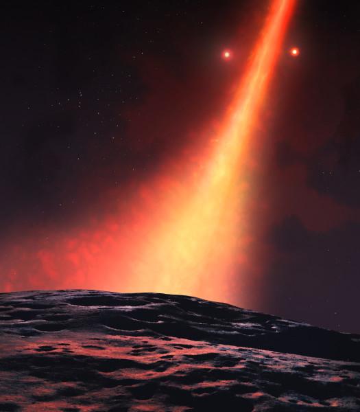 Figura 2. Lo stano aspetto del cielo visto da un pianeta che orbita attorno al sistema doppio: le due stelle sembrano andare in giostra passando da un lato all'altro del disco.. Fonte:University of Warwick/Mark Garlick