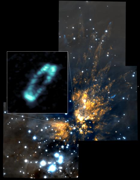 La stupefacente immagine di ALMA che riprende un perfetto disco di sale attorno a una giovane e massiccia stella di Orione. Lo sfondo è ripreso, nel vicino infrarosso, dal telescopio Gemini. Fonte: ALMA (NRAO/ESO/NAOJ); NRAO/AUI/NSF; Gemini Observatory/AURA