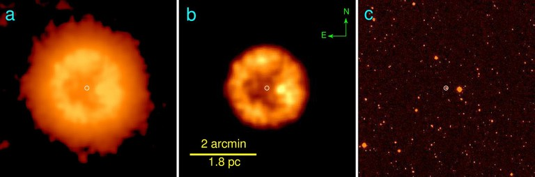 A sinistra due immagini riprese a 22 micron (con differente scala d'intensità), a destra ciò che si vede nell'ottico... Fonte: WISE e Vasilii Gvaramadse/Moscow University