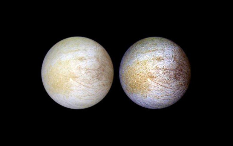Macchie gialle su Europa? Ovvia, c'è tanto sale da cucina che è stato invstito per tanto tempo dai raggi solari. Credit: NASA/JPL/University of Arizona