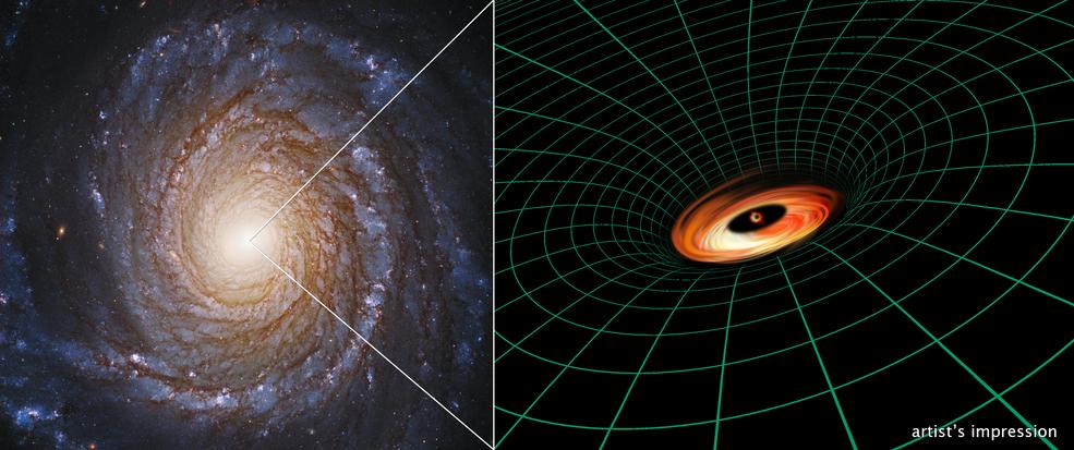 """La galassia NGC 3147 e una visione artistica del suo disco """"didattico"""", ma ancora inspiegabile. Fonte: Hubble Image: NASA, ESA, S. Bianchi (Università degli Studi Roma Tre University), A. Laor (Technion-Israel Institute of Technology), and M. Chiaberge (ESA, STScI, and JHU); illustration: NASA, ESA, and A. Feild and L. Hustak (STScI)"""