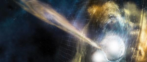 """Illustrazione della fusione di due stelle di neutroni. Le onde gravitazionali si propagano verso lo spazio, mentre un secondo più tardi si scaglia rapidissimo un getto di raggi gamma. Non pensiamo, comunque, di mettere un dito dove le due stelle si toccano... la temperatura è """"leggermente"""" calda. Fonte: National Science Foundation/LIGO/Sonoma State University/A. Simonnet"""