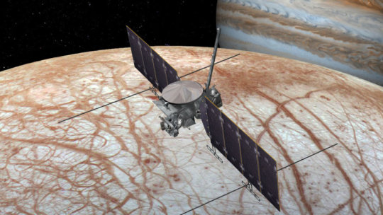 A 2016 artist's concept of the Europa Clipper spacecraft. The design is changing as the spacecraft is developed. Credit: NASA/JPL-Caltech