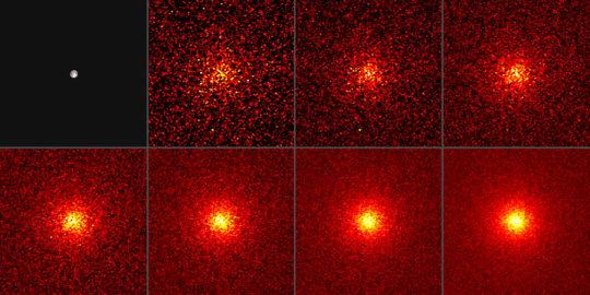 La Luna nei raggi gamma con esposizioni sempre crescenti (da 2 a 128 mesi). Fonte: NASA/DOE/Fermi LAT Collaboration