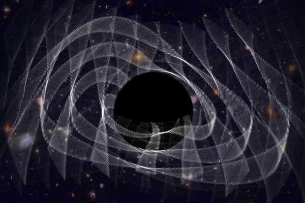 "Gli scienziati del MIT MIT hanno catturato, per la prima volta, scientists have captured the ""ringing"" of a newly-formed black hole, in the form of gravitational waves, depicted in this artist's illustration."