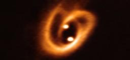Le due stelline con il loro disco protoplanetario mentre succhiano ancora la materia dal disco-mamma originario. Fonte: ESO/ALMA