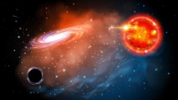 Una simulazione del buco nero più piccolo del più piccolo mai trovato finora con la sua gigante rossa che ne ha permesso l'identificazione. Forse il primo di una nuova classe estremamente numerosa. Fonte: Jason Smith/Ohio State University.
