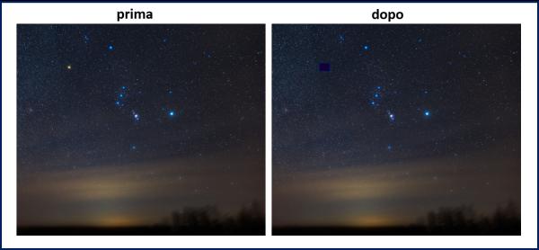 La costellazione di Orione adesso e molto dopo l'esplosione della supernova Betelgeuse
