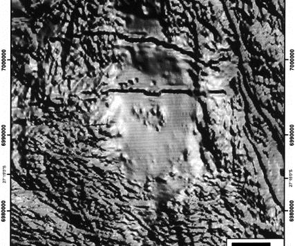 Immagine in rendering 3D (shadowed con illuminazione NE) della distribuzione dei valori dell'intensità del campo magnetico totale regionale dell'area di Yarrabubba. Sono riconoscibili, oltre alla struttura ellittica, altre lineazioni ad andamento est-ovest nella metà superiore dell'immagine e un arco presso l'angolo in basso a sin. (from Macdonald, Bnding, Cina, 2003).