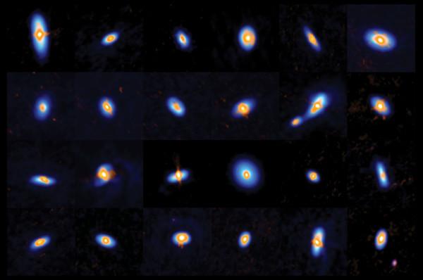 Un piccolo insieme di embrioni stellari, dove la parte blu è ciò che vede ALMA e la parte arancione è ciò che VLT.