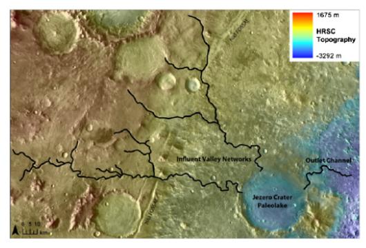 Fig. 6 Il sistema idrico di Jezero: a sinistra i 2 immissari che hanno alimentato il paleolago e a destra l'emissario (da Schon S., Head J., Fassett C., 2012. Planetary and Space Science)4