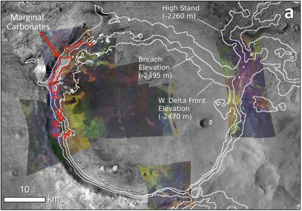 Fig. 7 Distribuzione dei Carbonati Marginali in Jezero (aree delimitate in rosso). Da Horgan B., Anderson R., Dromart G., 2020. Icarus)5