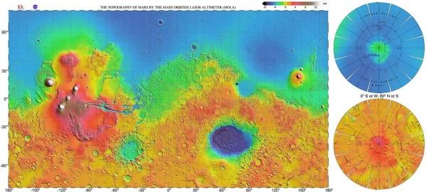 Fig. 2 Carta topografica generale di Marte ottenuta dai dati del Mars Global Surveyor. Evidenziata dal pallino nero la posizione approssimativa di Jezero, proprio al bordo del bacino Isidis. Modificato sul file originale: http://photojournal.jpl.nasa.gov/catalog/PIA02993