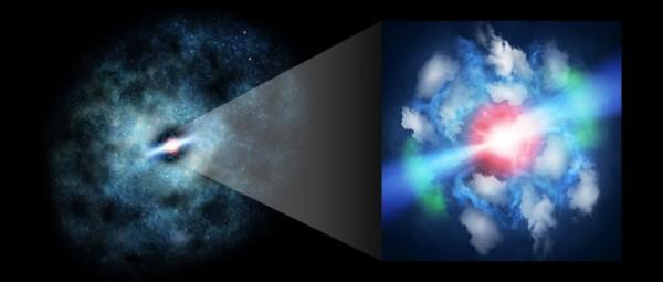 """Ricostruzione """"artistica"""" della galassia nel suo insieme e nella zona attorno al buco nero. Si nota chiaramente il fattore di disturbo arrecato alle nuvole di gas dal giovanissimo e violentissimo getto bipolare. Fonte: Kindai University"""