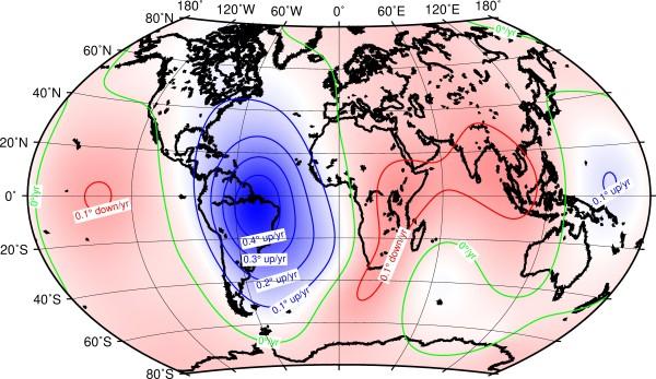 Fig. 4. Carta della variazione secolare dell'inclinazione magnetica ottenuta dal modello IGRF (13ma gen.) valida sino al 2025. Si nota che la massima variazione attesa è nel settore del continente sudamericano (fonte British Geol. Survey).