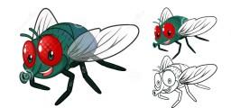 personaggio-dei-cartoni-animati-dettagliato-della-mosca-con-progettazione-e-linea-piana-art-black-e-versione-bianca-58138588