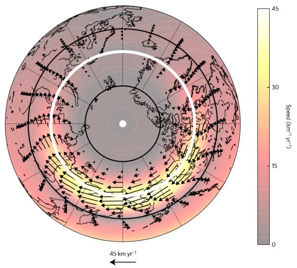 """Fig. 9. Vettori velocità della corrente polare localizzata alla superficie del nucleo esterno. Come indica anche la zonazione cromatica è evidente un settore """"siberiano"""" (in giallo chiaro) dove la velocità è molto più elevata che altrove (Livermore, Hollerback, Finlay. Nature Geoscience, 2017)1."""