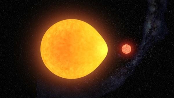 Un modello della stella pulsante, bloccata marealmente alla compagna nana rossa. Fonte: Gabriel Pérez Díaz (IAC)