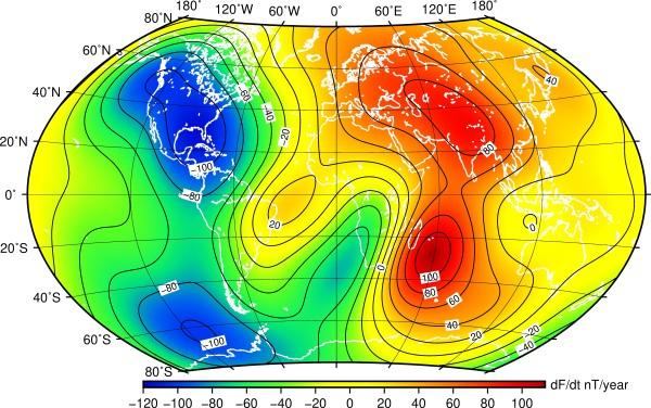 Fig. 6. Carta della variazione secolare del campo toale F ottenuta dal modello IGRF (13ma gen.) valida sino al 2025 (fonte British Geol. Survey).
