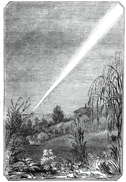 Great Comet of 1844, as observed from Van Diemen's Land (now known as Tasmania), off Australia. This comet was discovered on 18 December 1844, and was visible with the naked eye until the end of January 1845, during which time it was one of the brightest objects visible in the Southern Hemisphere. Comets are icy bodies from the outer solar system that boil and form a bright tail of gas and dust as they approach the Sun.