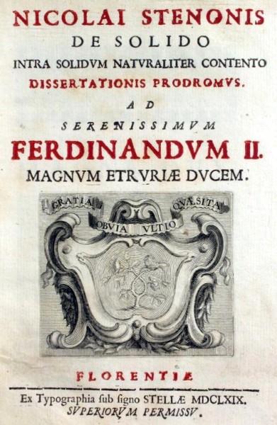 """Fig. 1. Frontespizio della prima edizione (1669) del trattato """"Prodromo ad una dissertazione su un solido contenuto naturalmente in un altro solido"""" di Niels Stensen."""