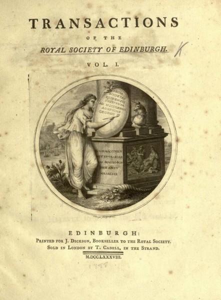 """Fig. 4. Frontespizio della prima edizione della """"Theory of the Earth"""" di James Hutton (1785)."""