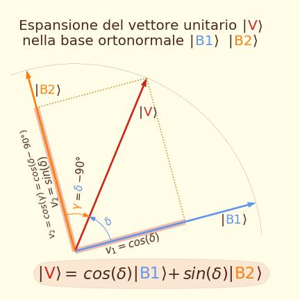 Espansione di un vettore unitario in una base ortonormale
