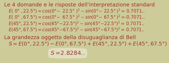 Calcolo della grandezza utilizzata nella disuguaglianza di Bell secondo l'interpretazione standard