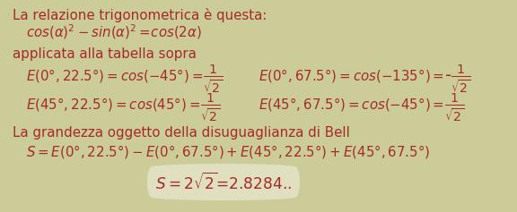 Valore numerico della grandezza oggetto della disuguaglianza di Bell secondo l'interpretazione standard
