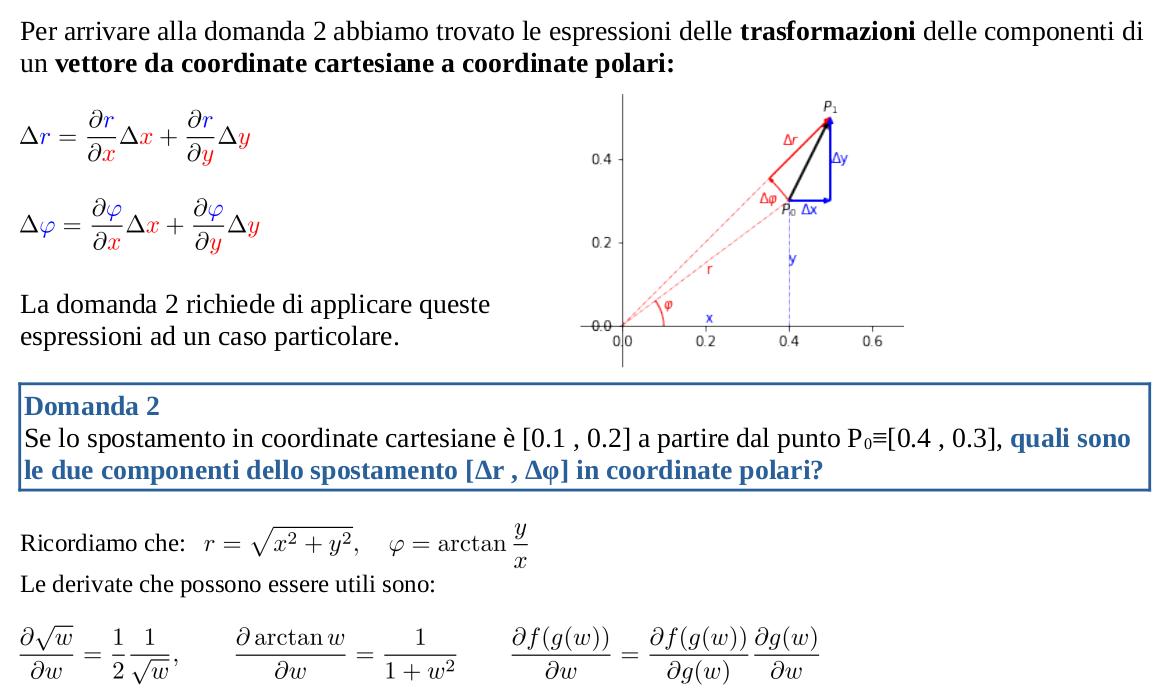 Trasformazioni componenti vettori da coordinate cartesiane a coordinate polari