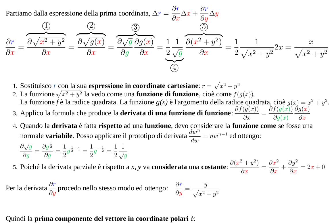 Trasformazione componenti vettori da coordinate cartesiane a coordinate polari per ottenere la componente radiale