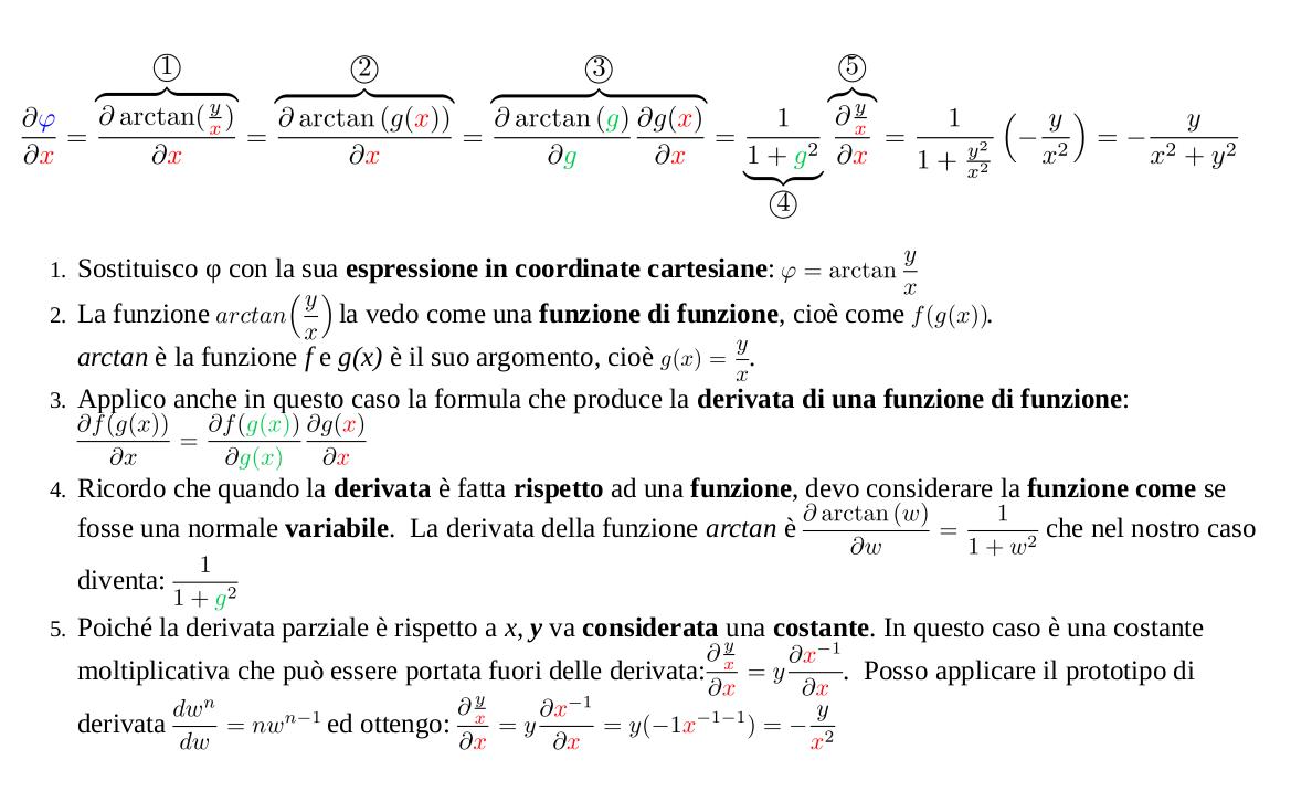 Trasformazione componenti vettori da coordinate cartesiane a coordinate polari per ottenere la componente azimutale